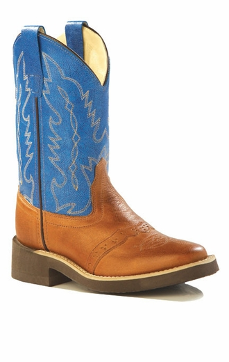 Old West Children's Square Toe Leather Western Crepe Boots - Blue/ Tan (Closeout)