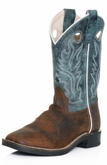 Old West Childrens Square Toe Cowboy Boots - Blue/Brown