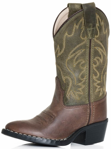 Old West Childrens Point Toe Cowboy Boot - Green/Brown