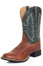 "Old West Mens 11"" Round Toe Leather Cowboy Boots - Teal/Tan (Closeout)"