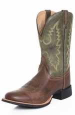 "Old West Mens 11"" Round Toe Leather Cowboy Boots - Green/Brown"