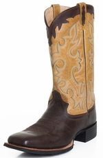 "Old West Mens 12"" Square Toe Leather Western Boots - Tan/Brown"