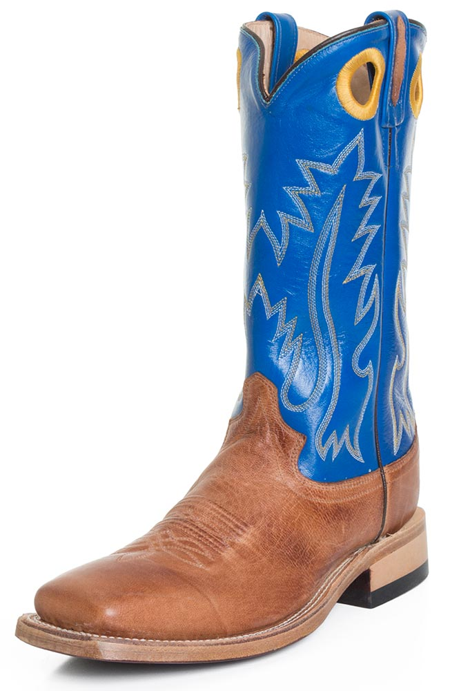 Old West Mens 13&quot Square Toe Leather Western Boots - Blue/ Brown