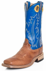 "Old West Mens 13"" Square Toe Leather Cowboy Boots - Blue/ Brown"