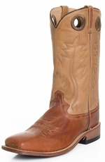 "Old West Mens 13"" Square Toe Leather Western Boots - Tan/ Brown (Closeout)"