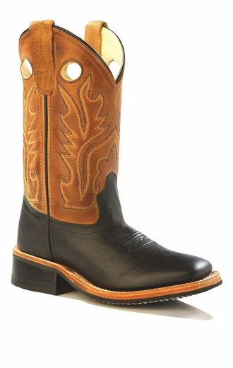 Old West Youth Broad Square Toe Leather Western Boots - Brown/ Black