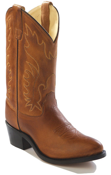 Old West Youth J-Toe Leather Western Boots - Brown