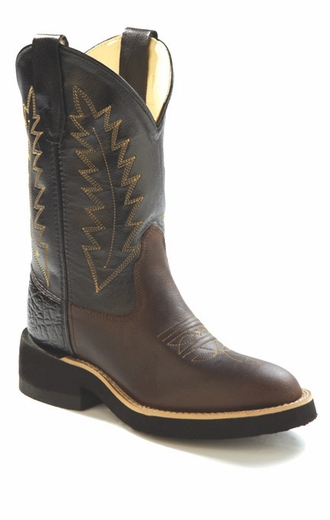 Old West Youth Round Toe Leather Western Crepe Boots - Black/ Brown