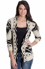 Olivia Women's Southwest Print Cardigan - Black