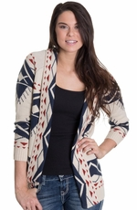 Olivia Women's Southwest Print Cardigan - Oatmeal (Closeout)