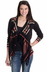 Olivia Womens Aztec Wrap Cardigan - Black (Closeout)