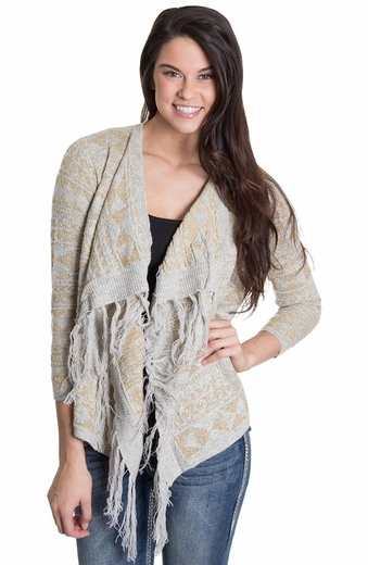 Olivia Womens Lurex Cardigan - Gold (Closeout)