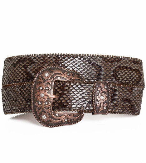 P Diamond Designs Womens Snake Print Belt - Brown