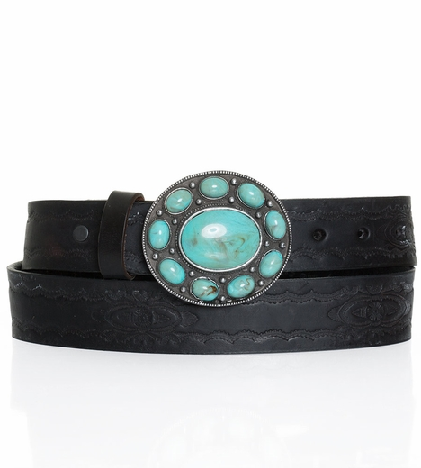 P Diamond Designs Womens Tooled Belt with Turquoise Buckle