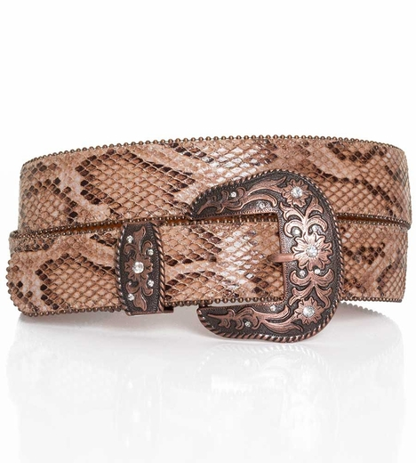 P Diamond Designs Womens Snake Print Belt - Tan