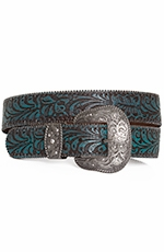 P Diamond Designs Womens Brown and Turquoise Tooled Belt