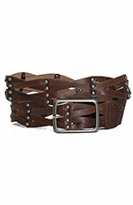 P Diamond Designs Womens Open Weave Belt with Studs - Brown (Closeout)