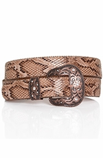 P Diamond Designs Womens Snake Print Belt - Tan (Closeout)