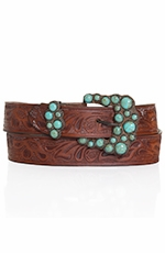 P Diamond Designs Womens Vintage Tooled Belt with Turquoise Buckle - Brown (Closeout)
