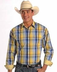 Panhandle Men's Long Sleeve Plaid Snap Shirt - Yellow