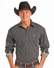 Panhandle Men's Long Sleeve Print Button Down Shirt - Black
