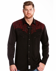 Panhandle Men's Retro Long Sleeve Embroidered Snap Shirt - Black