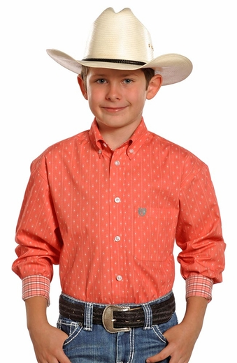 Panhandle Select Boys Long Sleeve Print Western Shirt - Peach