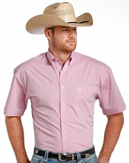 Panhandle Select Men's Short Sleeve Pattern Button Down Shirt - Pink
