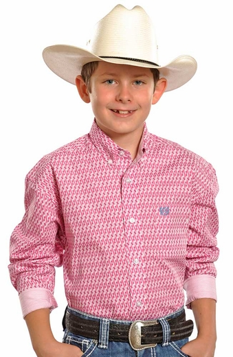 Panhandle Slim Select Boys Long Sleeve Print Shirt - Pink