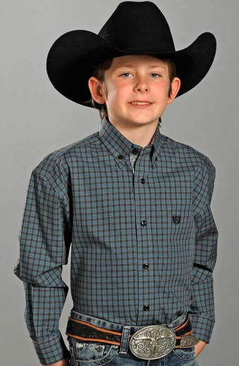 Panhandle Slim Select Boys Long Sleeve Plaid Western Shirt - Blue (Closeout)