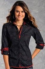 Panhandle Slim Womens Floral Print Sheer Button Down Top - Black
