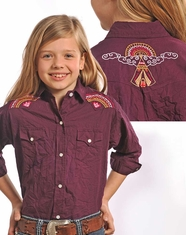 Panhandle Slim Girl's Long Sleeve Embroidered Crinkle Wash Snap Shirt-Grape (Closeout)