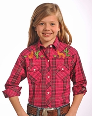 Panhandle Slim Girl's Long Sleeve Embroidered Plaid Snap Shirt - Fuchsia (Closeout)