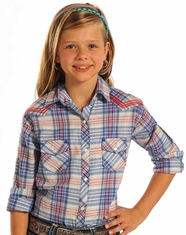 Panhandle Slim Girl's Long Sleeve Plaid Snap Shirt - Blue