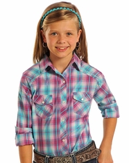 Panhandle Slim Girl's Long Sleeve Plaid Snap Shirt - Orchid