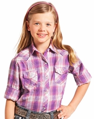 Panhandle Slim Girl's Long Sleeve Plaid Snap Shirt - Purple (Closeout)