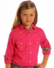 Panhandle Slim Girl's Long Sleeve Solid Snap Shirt - Pink