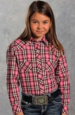 Panhandle Slim Girls Long Sleeve Plaid Snap Western Shirt - Pink (Closeout)