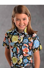 Panhandle Slim Girls Short Sleeve Floral Print Western Snap Shirt - Black