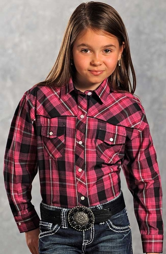 Panhandle Slim Girls Long Sleeve Plaid Snap Western Shirt - Pink