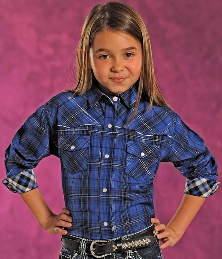 Panhandle Slim Girls Long Sleeve Plaid Snap Western Shirt - Royal