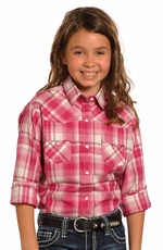 Panhandle Slim Long Sleeve Plaid Snap Western Shirt - Fuchsia