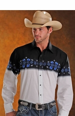 Panhandle Slim Men's Long Sleeve Aztec Border Print Western Snap Shirt - Black/ Stone (Closeout)