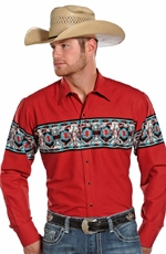 Panhandle Slim Men's Long Sleeve Aztec Border Snap Shirt - Red (Closeout)