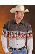 Panhandle Slim Men's Long Sleeve Border Print Snap Western Shirt - White/Brown