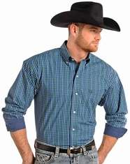 Panhandle Slim Men's Long Sleeve Plaid Snap Shirt-Blue (Closeout)