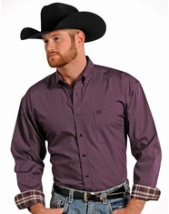 Panhandle Slim Men's Long Sleeve Plaid Button Down Shirt - Maroon