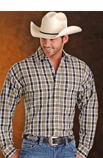 Panhandle Slim Men's Long Sleeve Plaid Button Down Western Shirt - Brown (Closeout)