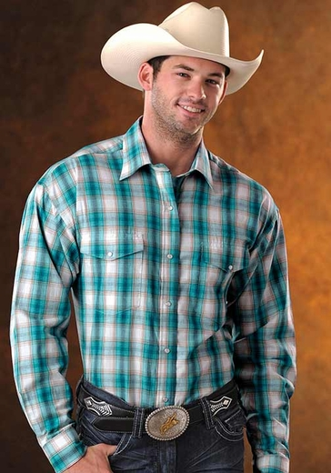 Panhandle Slim Men's Long Sleeve Plaid Snap Western Shirt - Aquamarine (Closeout)