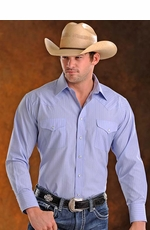 Panhandle Slim Men's Long Sleeve Satin Stripe Snap Western Shirt - Powder Blue